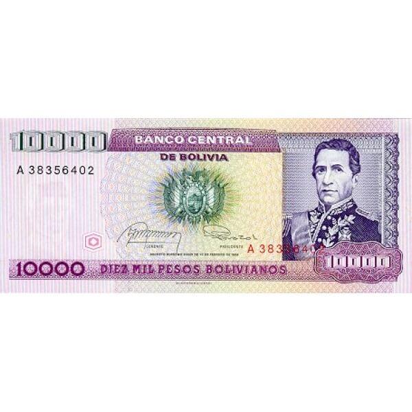 1984 - Bolivia P169 billete de 10.000 Pesos Bolivianos