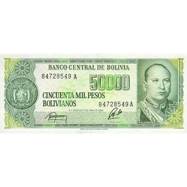 1984 - Bolivia P170 billete de 50.000 Pesos Bolivianos