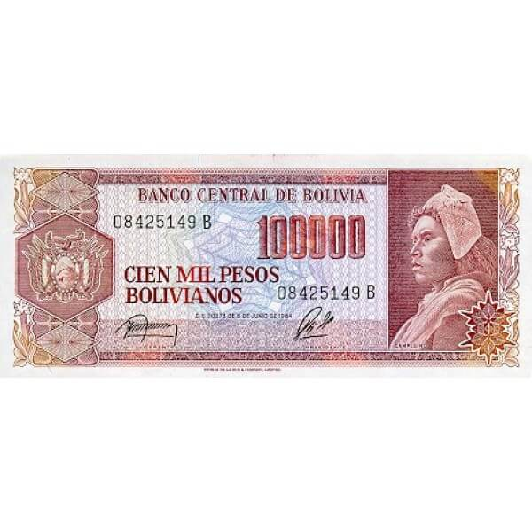 1984 - Bolivia P171a billete de 100.000 Pesos Bolivianos