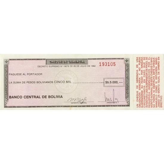 1982/86 - Bolivia P172a 5,000  Bolivian Pesos  banknote