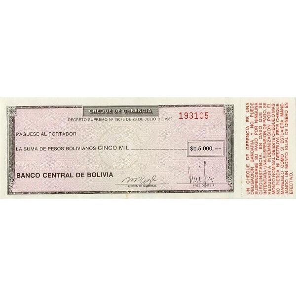 1982/86 - Bolivia P172a billete de 5.000 Pesos Bolivianos