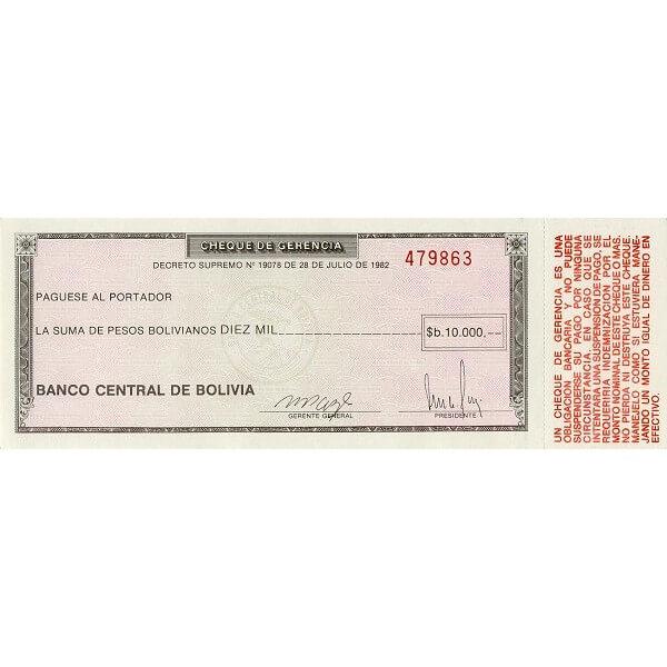 1982/86 - Bolivia P173a 10.000 Bolivian  Pesos  banknote
