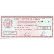 1984 - Bolivia P188 100,000 Pesos Bolivianos  banknote