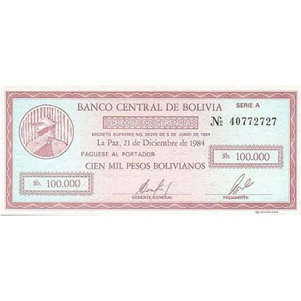 1984 - Bolivia P188 billete de 100.000  Pesos Bolivianos