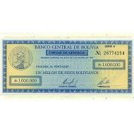 1985 - Bolivia P190 1 Million Pesos Bolivianos banknote