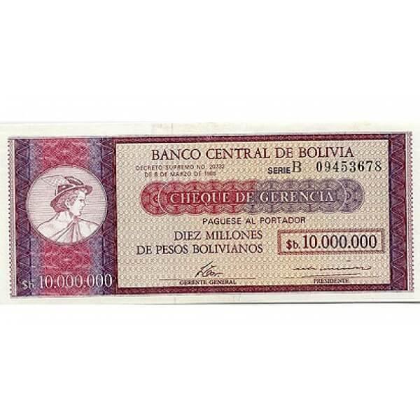 1985 - Bolivia P192B billete de 10 Millones de Pesos Bolivianos