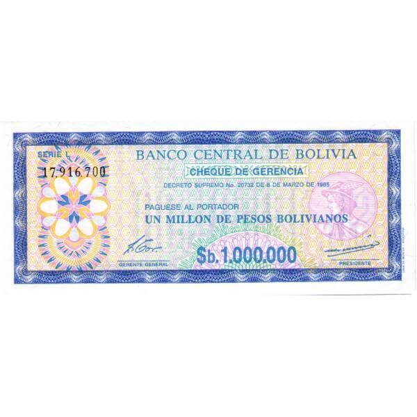 1985 - Bolivia P192C  billete de 1millón de  Pesos Bolivianos