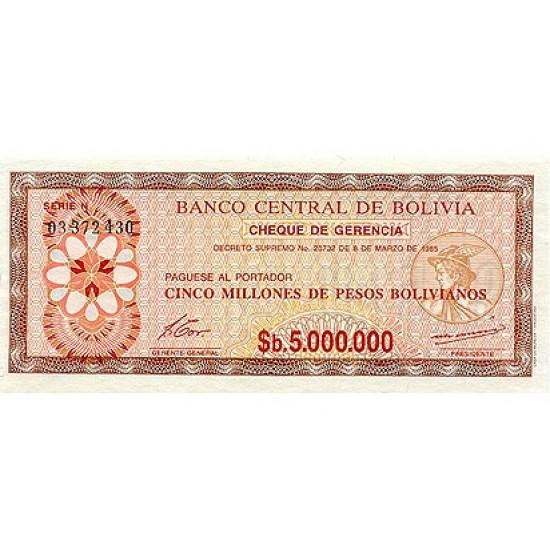 1985 - Bolivia P193 5 Million  Pesos Bolivianos  banknote
