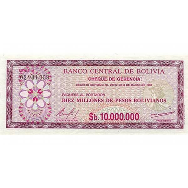 1985 - Bolivia P194 billete de  10 Millones de Pesos Bolivianos