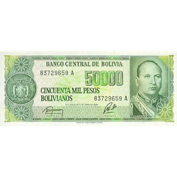 1987 - Bolivia P196 billete de 5 Centavos en 50.000 Pesos