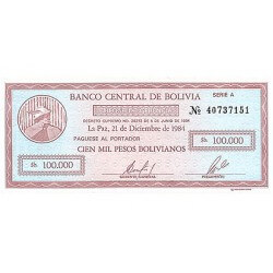 1987 - Bolivia P197 100,000 Pesos Bolivianos  banknote