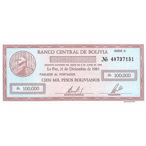 1987 - Bolivia P197  billete de 100.000 Pesos Bolivianos