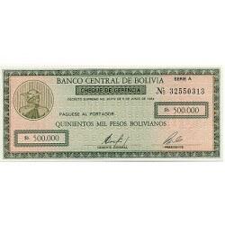 1987 - Bolivia P198 500,000 Pesos Bolivianos  banknote