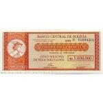 1987 - Bolivia P200 5 Bolivianos en 5 Million Pesos banknote