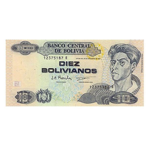 1997 - Bolivia P204c billete de 10 Bolivianos