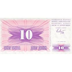 1992 -  Bosnia Herzegovina PIC 10    10 Dinara banknote