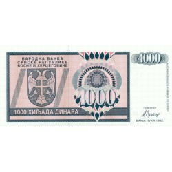 1992 - Bosnia Herzegovina PIC 137a    1000 Dinara banknote