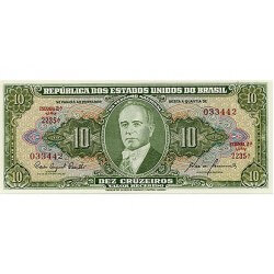 1960 - Brazil P159c 10 Cruceiros  banknote