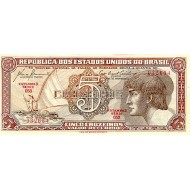 1961 - Brazil P166a 5 Cruceiros  banknote
