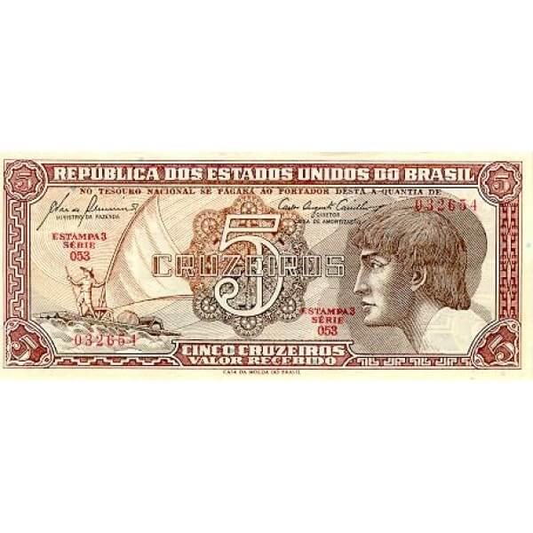 1962 - Brasil P166b billete de 5 Cruceiros