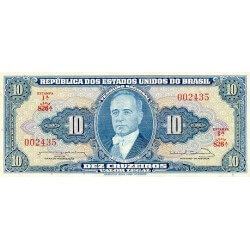 1961 - Brazil P167a 10 Cruceiros  banknote