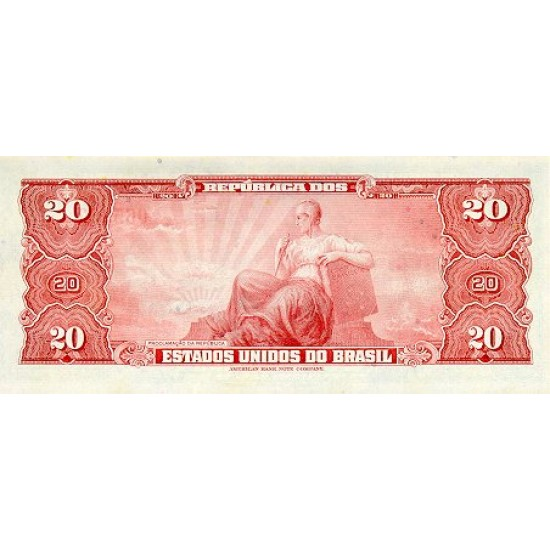 1963 - Brazil P168b 20 Cruceiros banknote