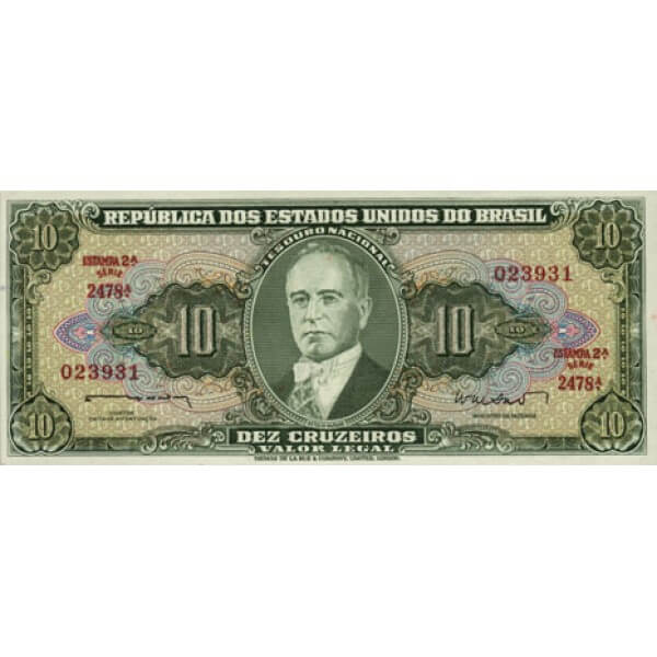 1964 - Brasil P176d billete de 5 Cruceiros