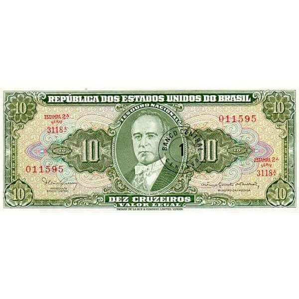 1967 - Brazil P183b 1 centavo on 10 Cruceiros banknote