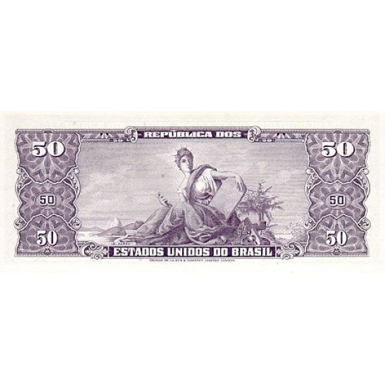 1966 - Brazil P184a 5 centavos on 50 Cruceiros banknote