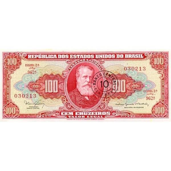 1967 - Brasil P185a billete de 10 centavos en 100 Cruceiros