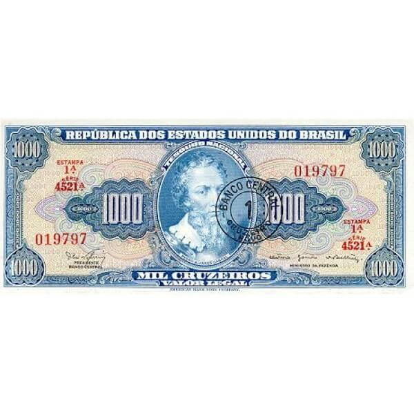 1967 - Brazil P187b 1 Cruceiro Novo on 1000 Cruceiros banknote