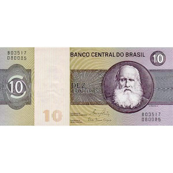 1980 - Brasil P193e billete de 10 Cruceiros