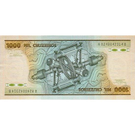 1986 - Brazil P201d 1,000 Cruceiros banknote