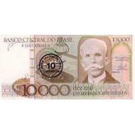 1986 - Brazil P206 10 cruzados on 10,000 cruceiros banknote