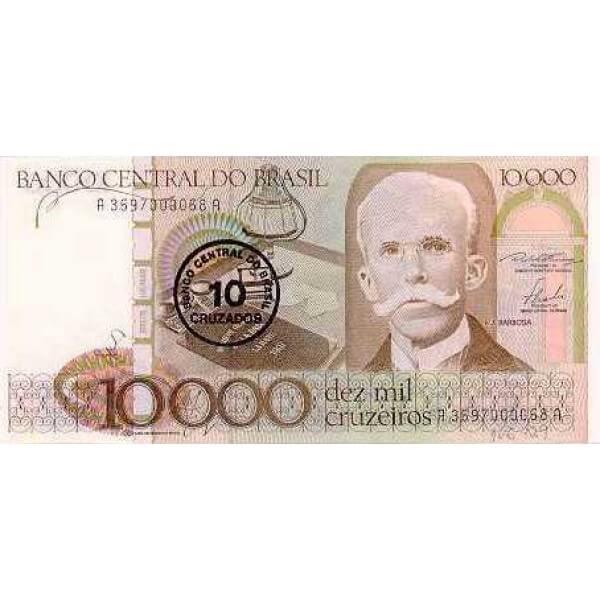 1986 - Brasil P206 billete de 10 cruzados en 10.000 cruceiros