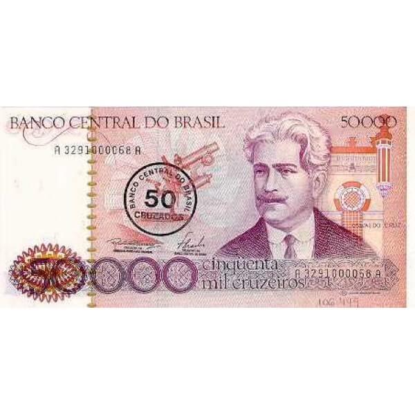1986 - Brasil P207 billete de 50 cruzados en 50.000 cruceiros