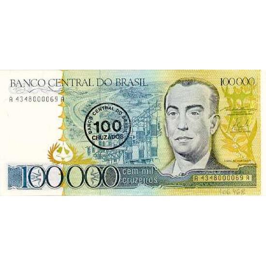 1986 - Brazil P208 100 cruzados en 100,000 cruceiros banknote