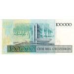 1986 - Brasil P208 billete de 100 cruzados en 100.000 cruceiros