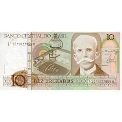 1987 - Brazil P209b 10 Cruzados banknote