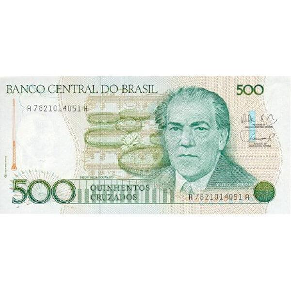 1988 - Brasil P212d billete de 500 Cruzados