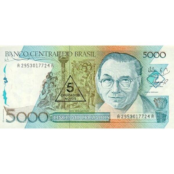 1989 - Brasil P217a billete de 5 cruzados novos en 5000 cruzados