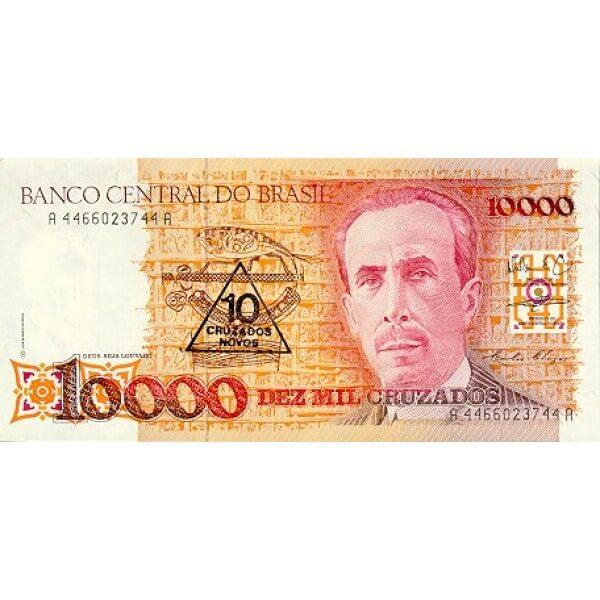 1990 - Brasil P218b billete de 10 cruzados novos en 10.000 cruzados