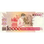 1990 - Brazil P218b 10 cruzados novos on 10,000 cruzados banknote