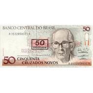 1990 - Brazil P223 50 cruceiros on 50 cruzados novos banknote