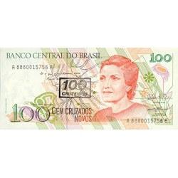 1990 - Brazil P224b 100 cruceiros on 100 cruzados novos banknote