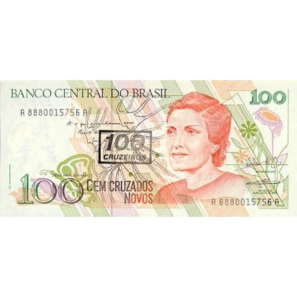 1990 - Brasil P224b  billete de 100 cruceiros en 100 cruzados novos