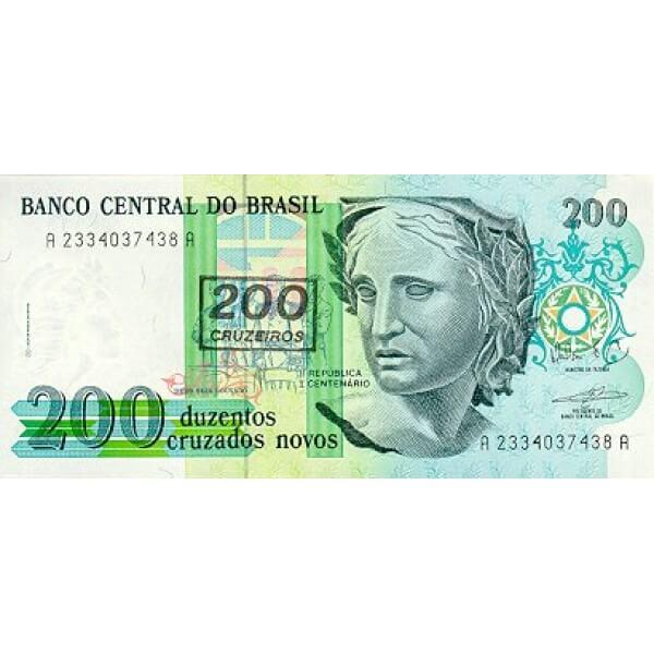1990 - Brasil P225b billete de 200 cruceiros en 200 cruzados novos