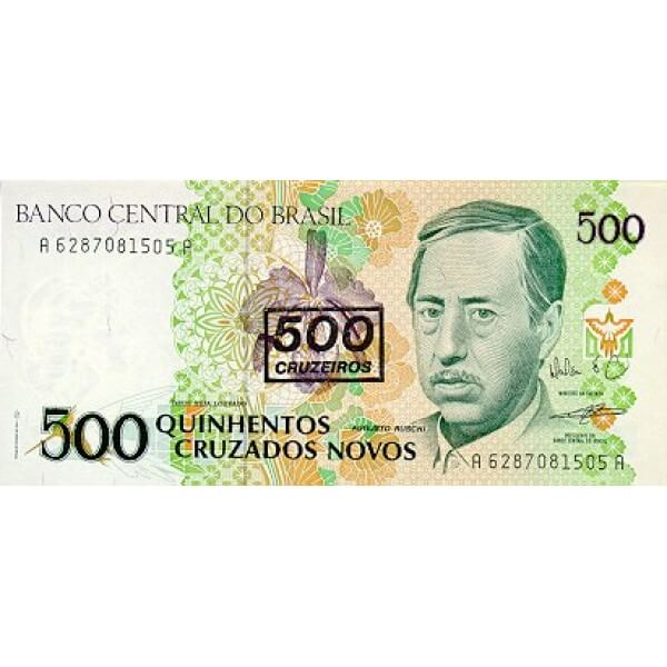 1990 - Brasil P226b 500 cruceiros on 500 cruzados novos banknote