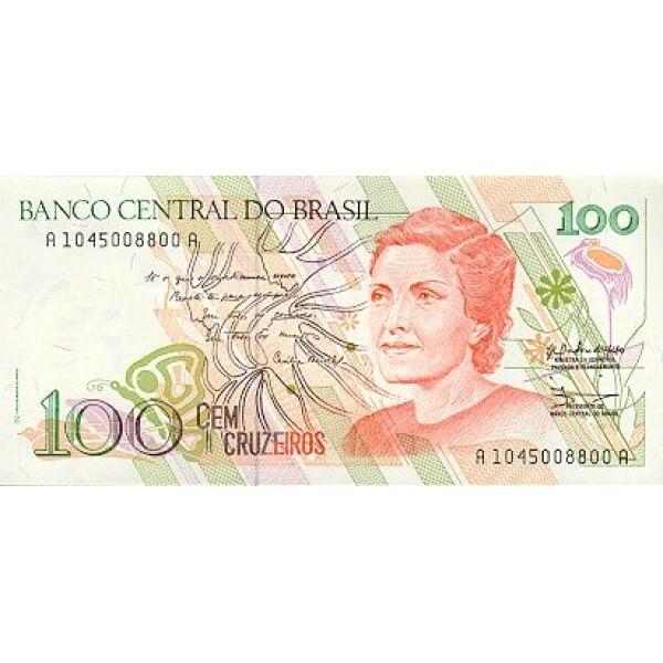 1990 - Brasil P228 billete de 100 Cruceiros
