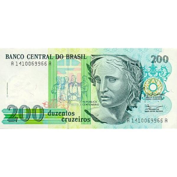 1990 - Brasil P229 billete de 200 Cruceiros
